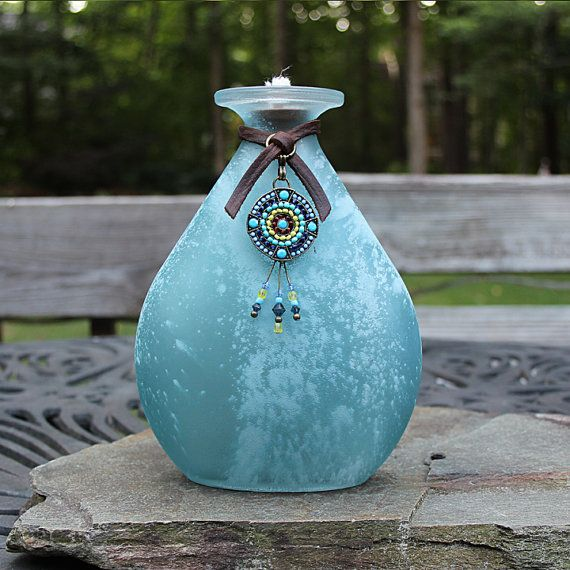 Southwestern Style Frosted Glass Oil Lamp Tiki by ShopPrettyPatina