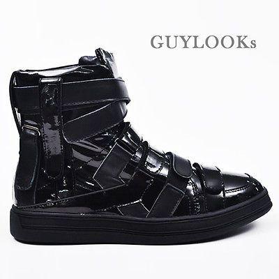 Tênis de alta Real Leather Top de Velcro homem designer Mens Multi correia por Guylook