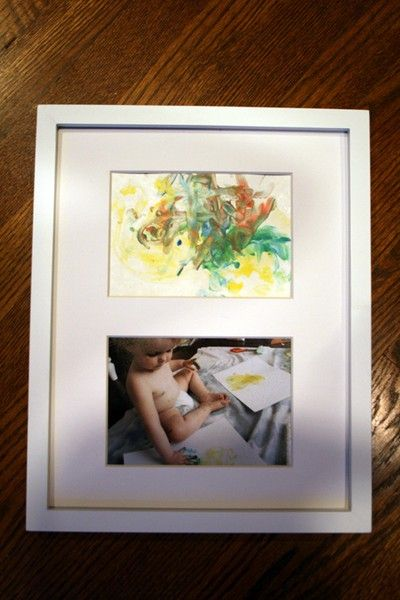 so cute. A picture of a childs artwork with a photo of the child making the artwork