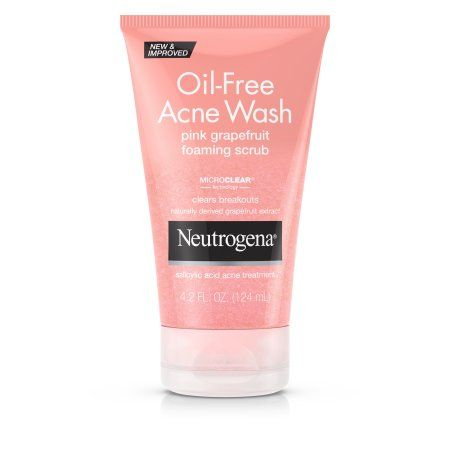 Neutrogena Oil-Free Acne Face Wash Pink Grapefruit Foaming Scrub, Salicylic Acid Acne Treatment, 4.2 Fl. Oz., Multicolor