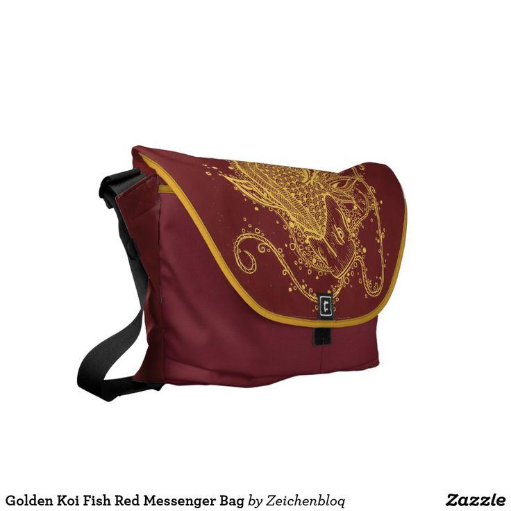 Golden Koi Fish Red Messenger Bag   Zazzle.com