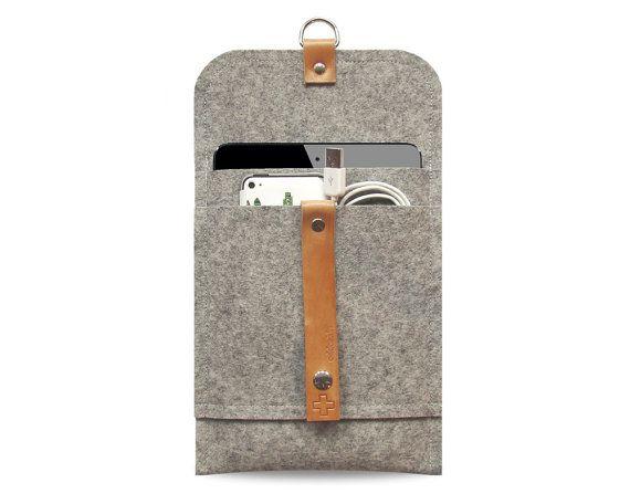 iPad mini case iPad mini cover pure grey wool felt, leather straps, very protectiv, front pocket, anti- static on Etsy, $34.00