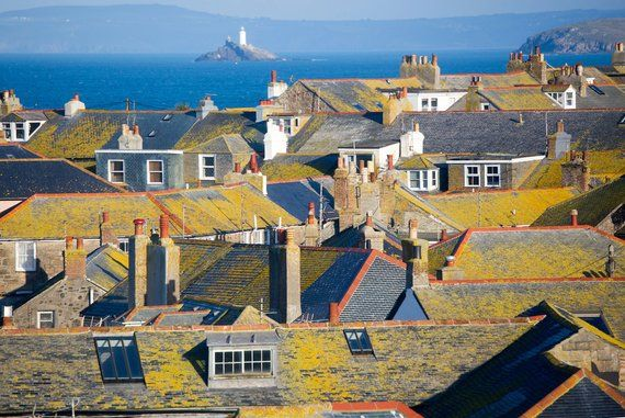 The Lichen Covered Roofs Of St Ives With Godrevy Lighthouse Etsy St Ives Lighthouse Roof