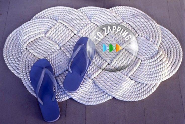 Alfombras hechas a mano con cordón, anímate a hacerla, sencilla pero bonita alfombra tejida con cordón grueso. Ideal para la entrada, estas…