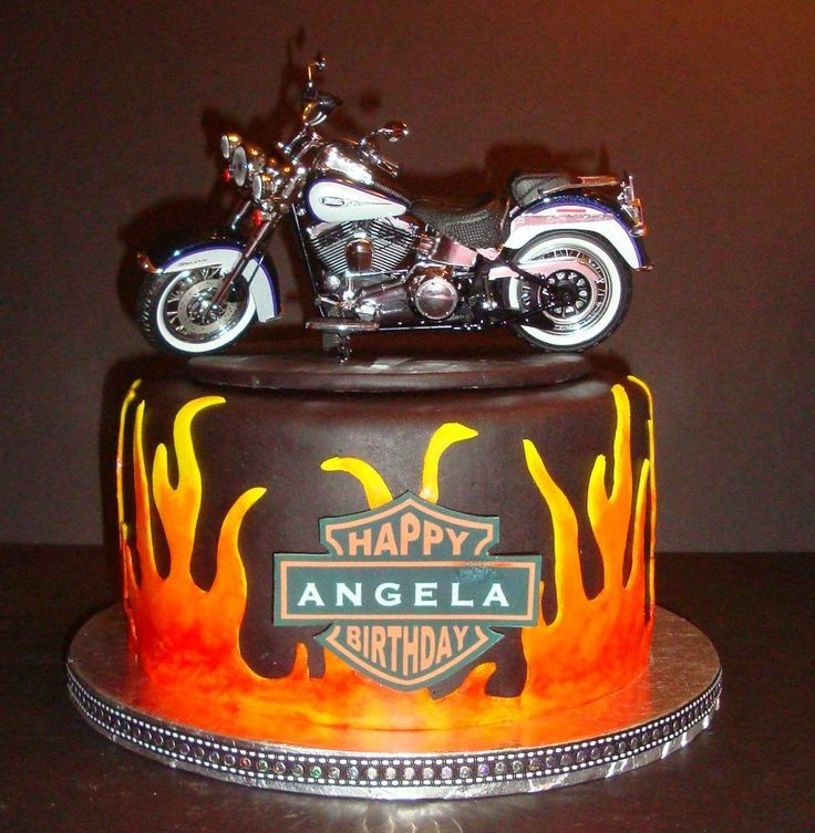 D Motorcycle Cake With Candles