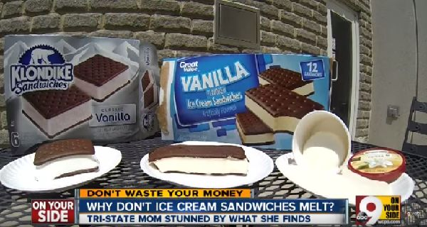 Mother Shocked After Ice Cream Sandwich Lasts 12 Hours in the Heat without Melting (with Video) -    In the past few decades, the food we eat has changed in many ways, and one mother know this fact loud and clear recently in Cincinnati, after she discovered one of her son's ice cream sandwiches that had been left outside.Women from Western Hills, Ohio named Christie Watson left out the W...