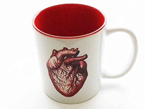 Anatomy theme Mug -one (1) 11 oz. #ceramic mug with red inside -gift box included -same image on both sides -party favors, stocking #stuffers, hostess or housewar...