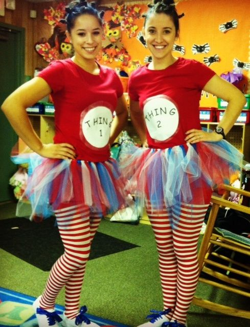 my co-worker and I dressed up as thing 1 and thing 2! Super easy costume to make!