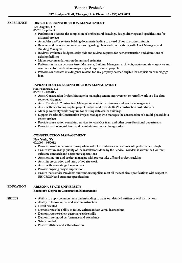 25 Construction Manager Resume Template in 2020 Resume