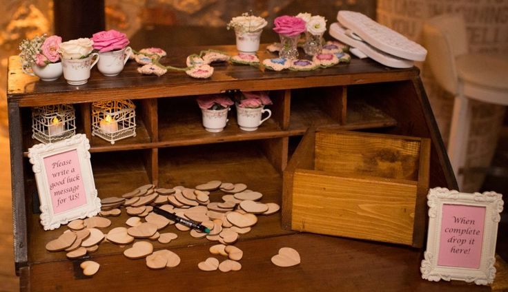 This oak guest book works so well against the vintage desk!
