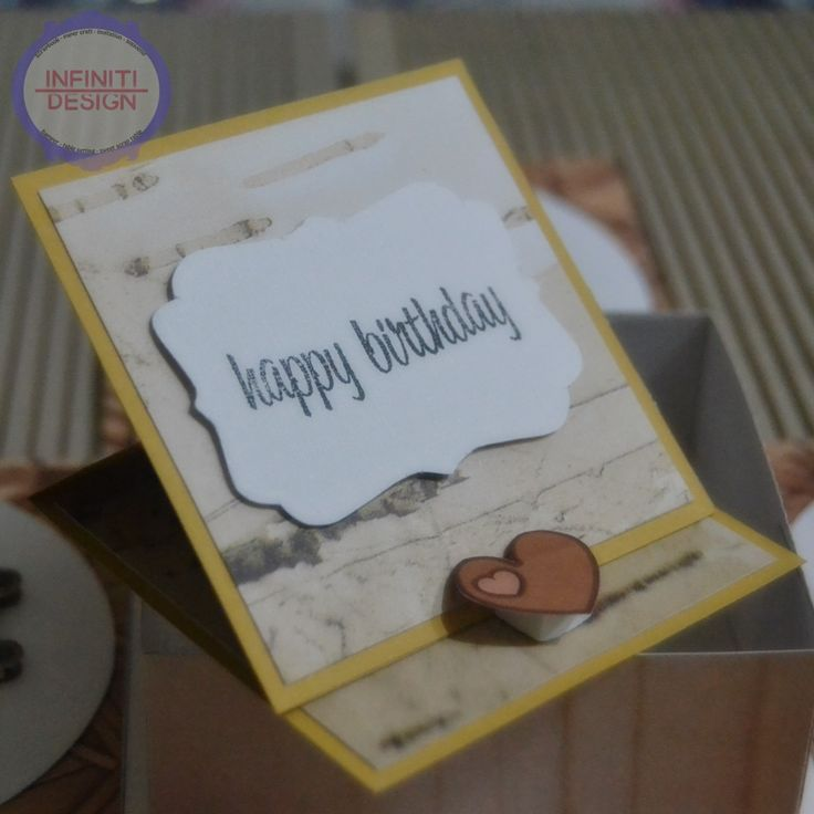 "10x10x10cm birthday exploding box using DCWV ""The Good Wood stacks"" for miss Dini :) *easel card inside the box"