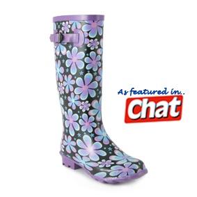 Multi Coloured Flower Design Womens Wellington Boot with Buckle Trim - £12.99 - www.shoezone.com, #wellies, #wellington boots, #shoes, #apparel, #festival