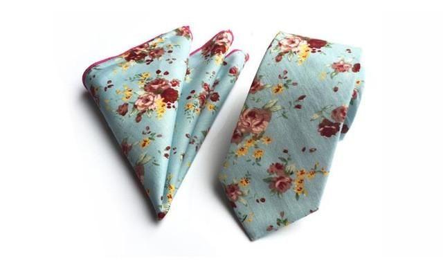 Floral Slim Tie & Pocket Square set