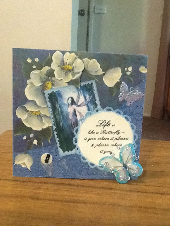 Fairies and flowers. This card won the Papercraft fair best card prize in 2013