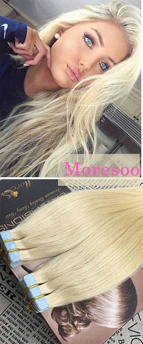 Moresoo 16 Inch Seamless Skin Weft Tape In Remy Hair Extensions