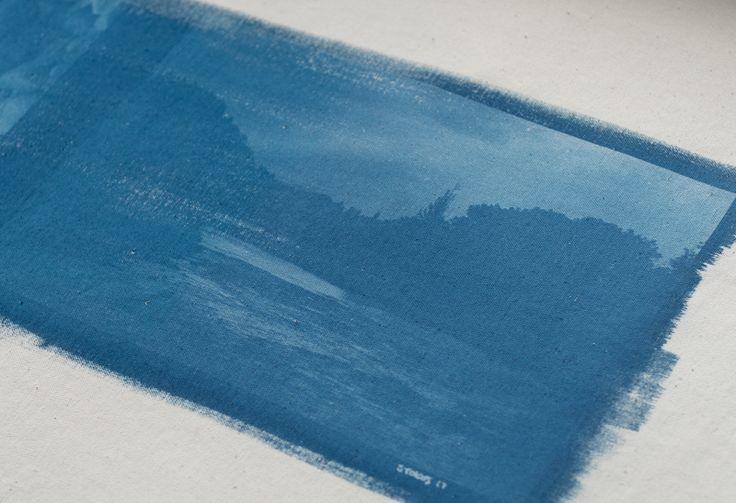 The Whanganui River at Manunui. Cyanotype on canvas, pre-embellishment.