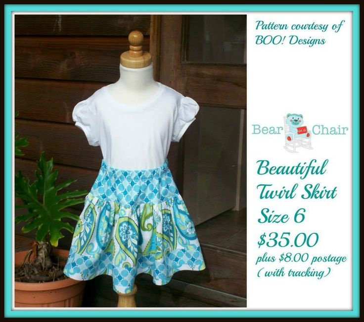 Handmade By Bear In A Chair Beautiful Twirl Skirt Size 6