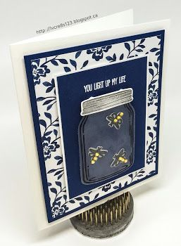 Linda Vich Creates: Jar of Love For Father's Day. Sparkling fireflies frolic in a mason jar on this Night of Navy and Floral Boutique matted card.