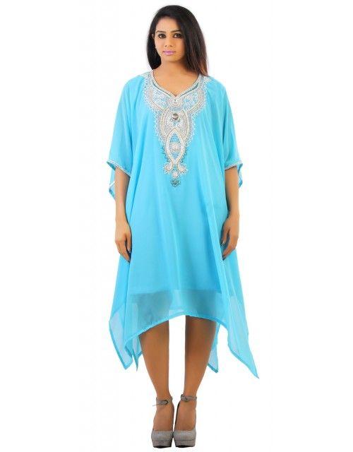 Dubai Beach Kaftan Tunic - Sky Blue