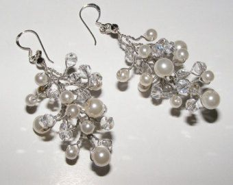 Bridal Pearl and Crystal Necklace by Nanda on Etsy
