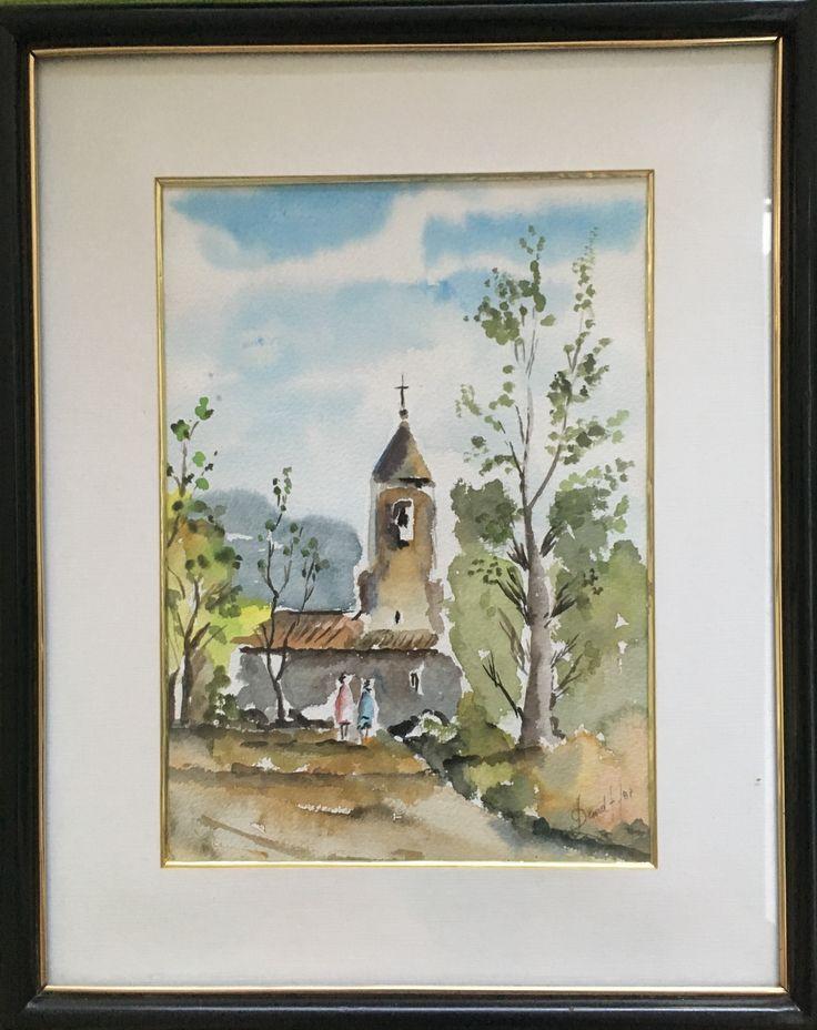 """Capilla Rural"" (Rural Chapel). 1987. 32x23 cm. Watercolours on paper."