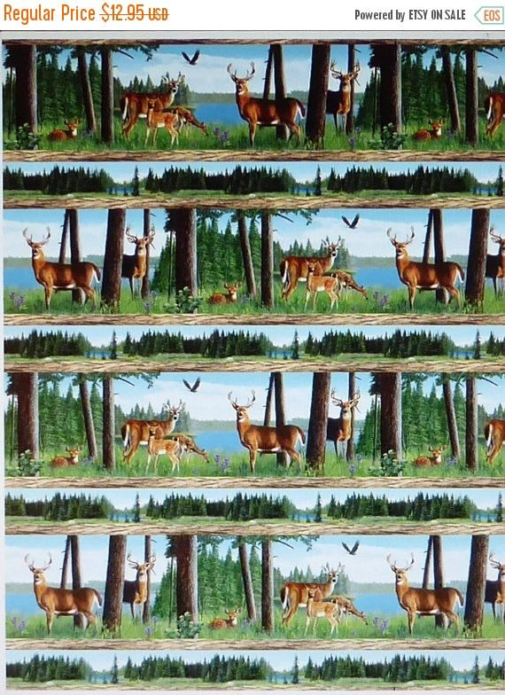 YEAR END SALE Oh Deer! Animals Stripe~Cotton Fabric, Quilt, Home Decor~Wilmington Prints~Fast Shipping,N413