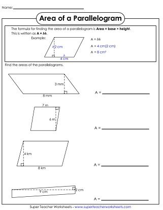 Area of Parallelograms Worksheet | paper1 | Parallelogram area, Area ...