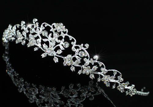 Zarte Blumen Strass Kristall Braut Hochzeit Diadem Tiara 34,99+2,99€