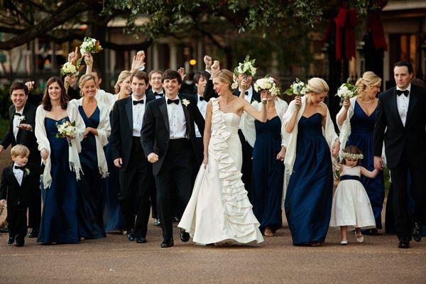 formal, navy + black bridal party | Meg Baisden #wedding