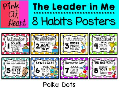 The Leader in Me: 8 Habits Posters (Polka Dots) from kac2877 from kac2877 on TeachersNotebook.com (16 pages) - PDF - The Leader in Me 8 Habits Posters in Polka Dots
