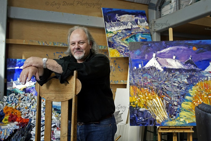 Scottish artist John Lowrie Morrison, also known as Jolomo in his studio in Tayvallich, Argyll, on the west coast of Scotland (photography by Gary Doak)