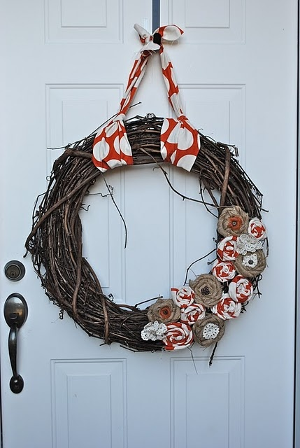 Fall Fabric Flower Grapevine Wreath.