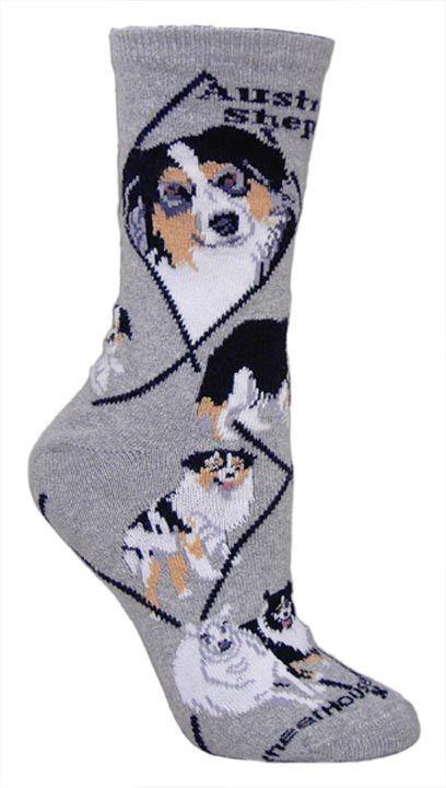 Australian Shepherd Dog Breed Novelty Socks Gray