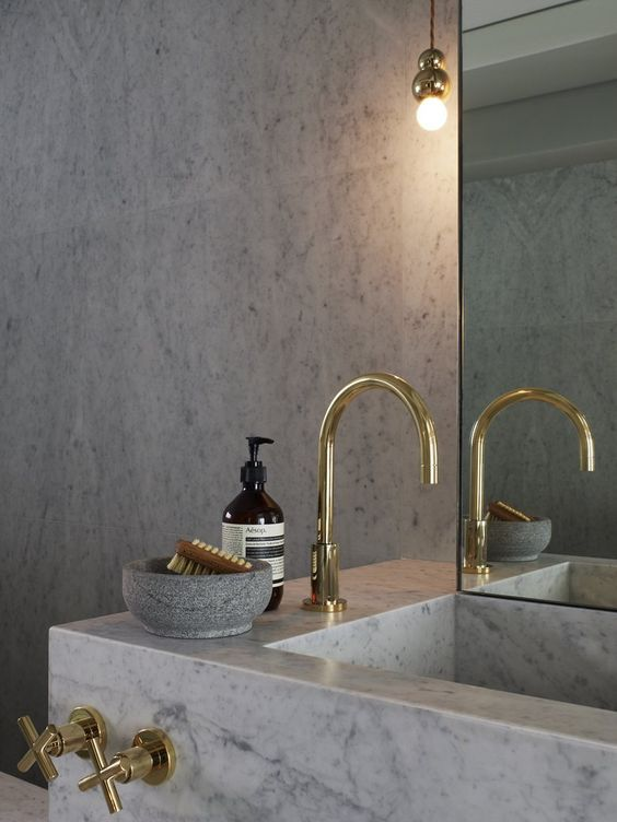 Brass faucet ~ placement. Studioilse  http://www.tapforyou.co.uk/bathroom-sink-taps/wall-mounted-basin-taps/contemporary-brass-waterfall-bathroom-sink-tap-wall-mount-t0465