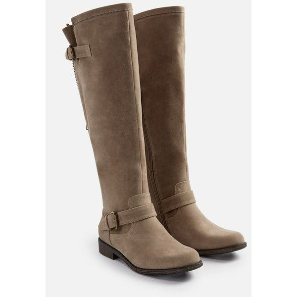 Justfab Flat Boots Bayley Flat Boot ($43) ❤ liked on Polyvore featuring shoes, boots, brown flat boots, brown boots, flat brown knee high boots, wide width knee high boots and wide calf knee high boots