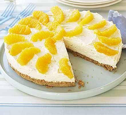 No Bake Orange Cheesecake, great idea for all the fresh mandarinas ...