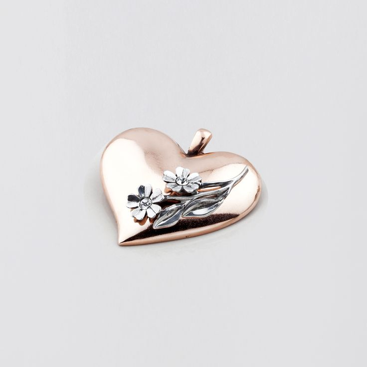 EN1218 Two-tone rose #gold and burnished #silver heart #pendant with floral and classic #Swarovski #crystal accents - www.miglio.com