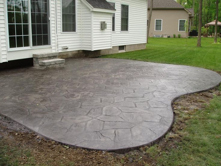 Stamped Colored Gray Concrete Patio (sized And Shaped Differently Than The  One In The Picture)