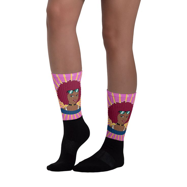 Burgundy Afro Diva Pink Starburst Black foot socks. These socks will give you maximum comfort and style simultaneously! The top of the sock is printed, the bottom portion is solid black, and each sock is printed individually in the USA.  • Thick ribbing, which provides a secure fit • Cushioned for maximum comfort  • Bold, crisp colors that won't fade • 60% Nylon, 22% Cotton, 18% Spandex  • Cold wash with like colors and hang dry