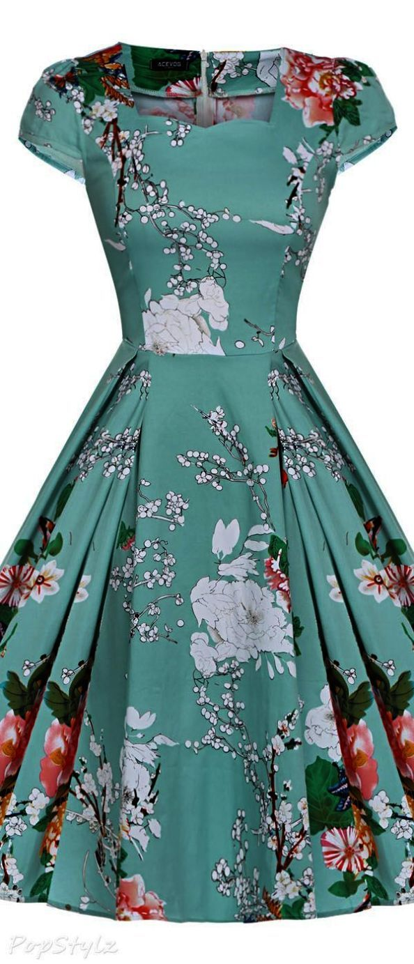 a051b904768a Maggie Tang Women s 1950s Vintage Rockabilly Dress 50s Style Floral Dress