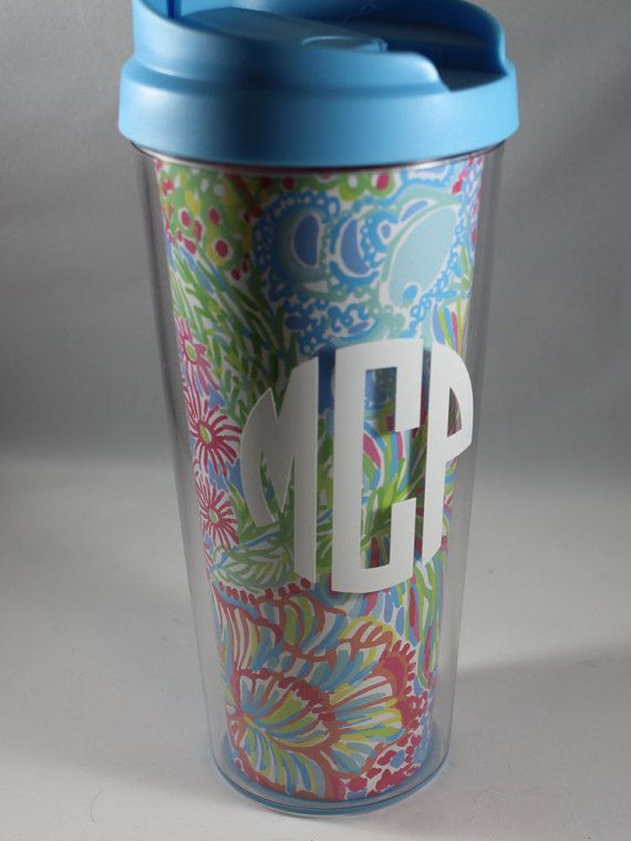 Lilly Pulitzer Cup with Vinyl Monogram, monogrammed tumbler, lilly party monogrammed cup.  personalized tumbler bridesmaid tumbler