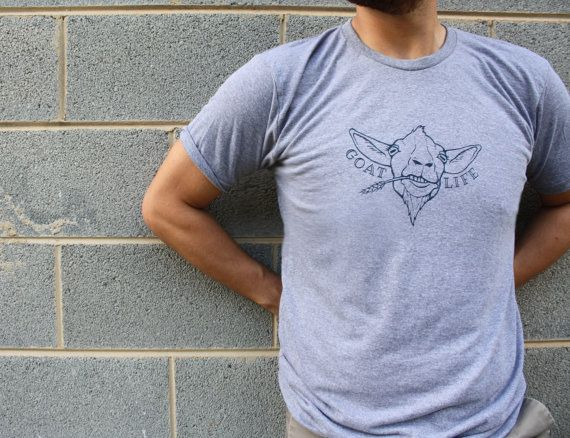 Goat TShirt - Goat Life - Unisex Graphic T Shirt - Hipster t shirt - Funny Shirt - Goat Shirt - American Apparel Gray - Screen Printed