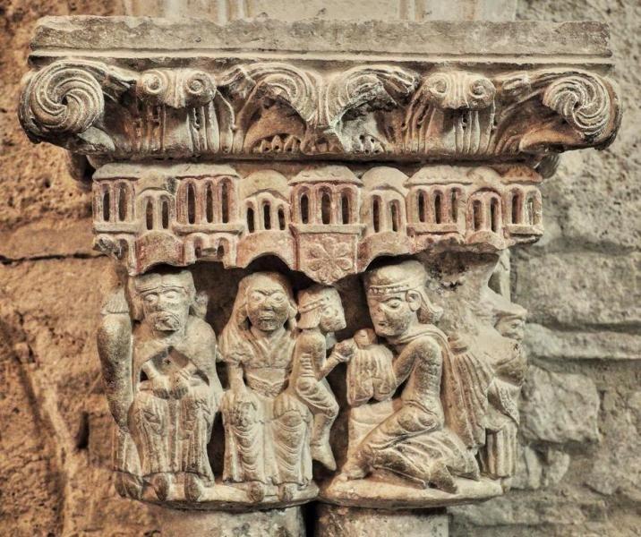 Capitel de la Adoración de los Magos - Santa María la Real de Piasca, Liébana, Cantabria