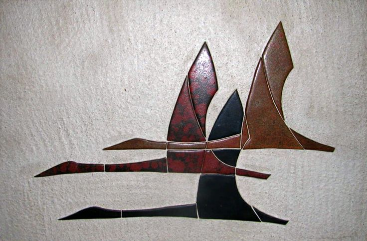 Flying geese ceramic wall plaque by Dietlinde Hein for Knapstrup, Denmark, c. 1960's.