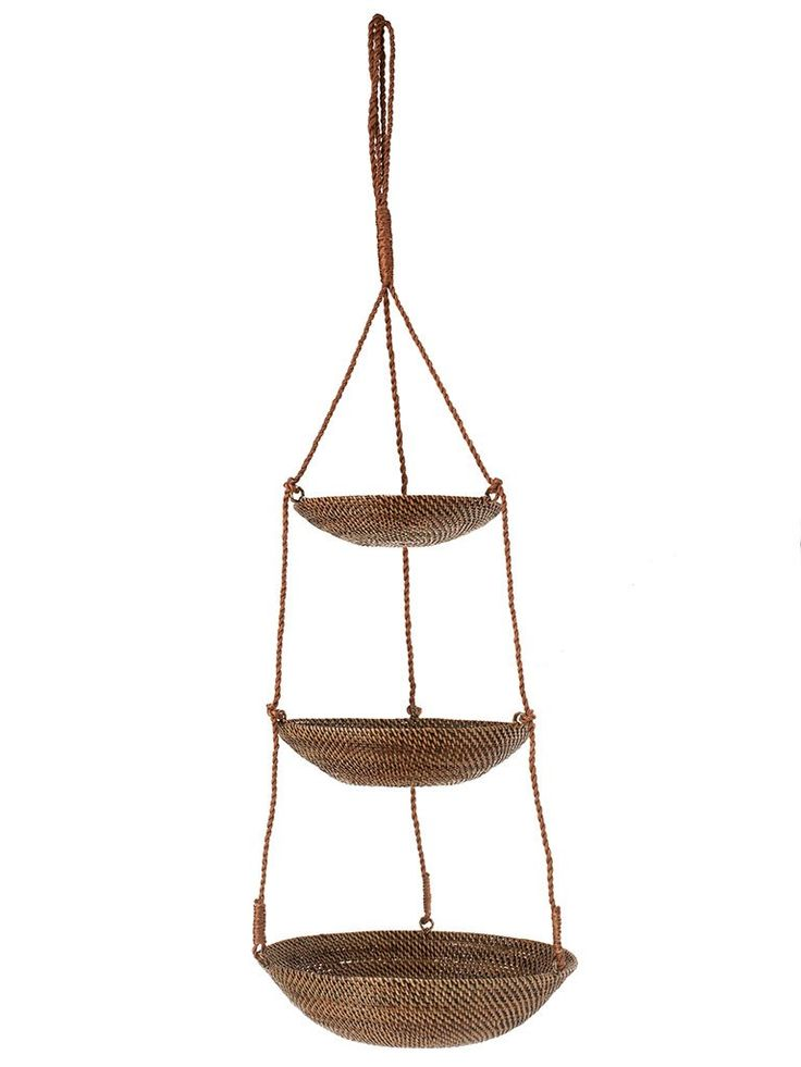 KOUBOO 3 Tier Hanging Basket In Rattan Nito, Brown
