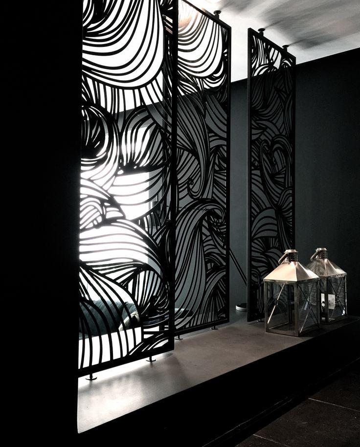 Duplex | Dining room | Metal screens | Room divider | Pattern Steel | Lasercut | Framed | Interior design | Etienne Hanekom Interiors