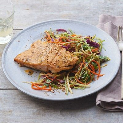 Maple Mustard Salmon with Asian Slaw. Salmon = salmon fillet, s & p, maple syrup, Dijon mustard
