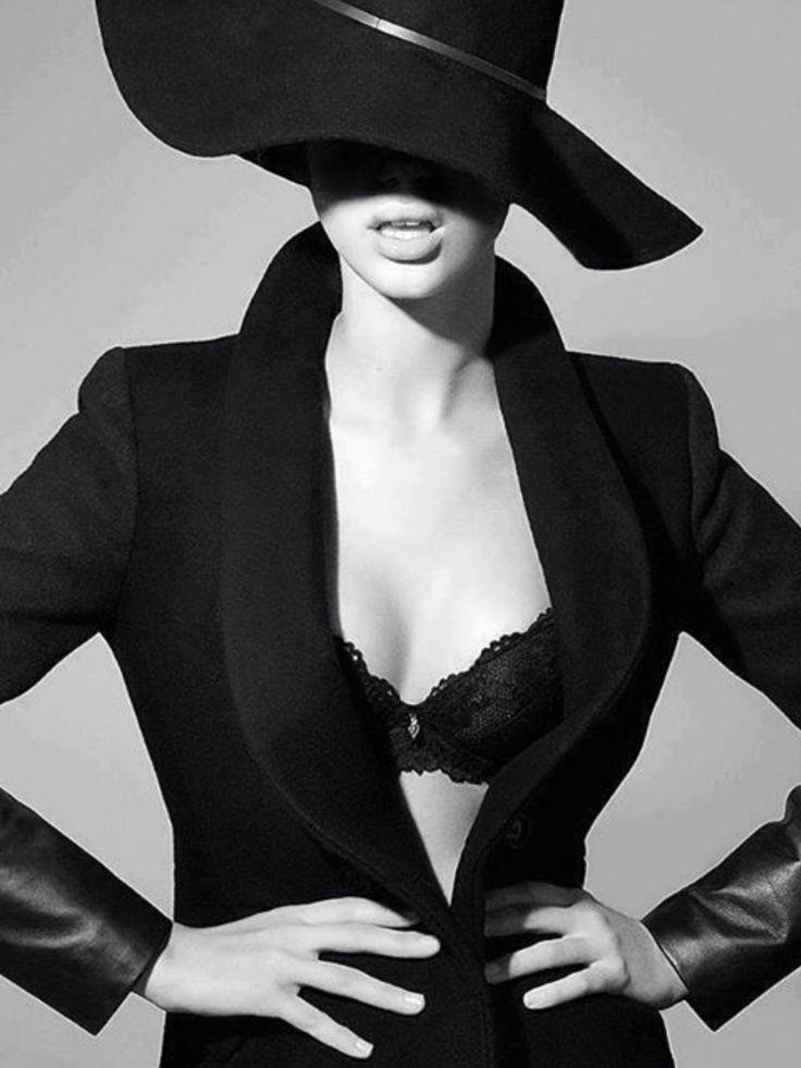 black and white #lingerie #blazer #hat #style #fashion