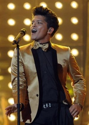 Bruno Mars. I have to say, I've never heard his music, but I like his style whenever I see his photos.