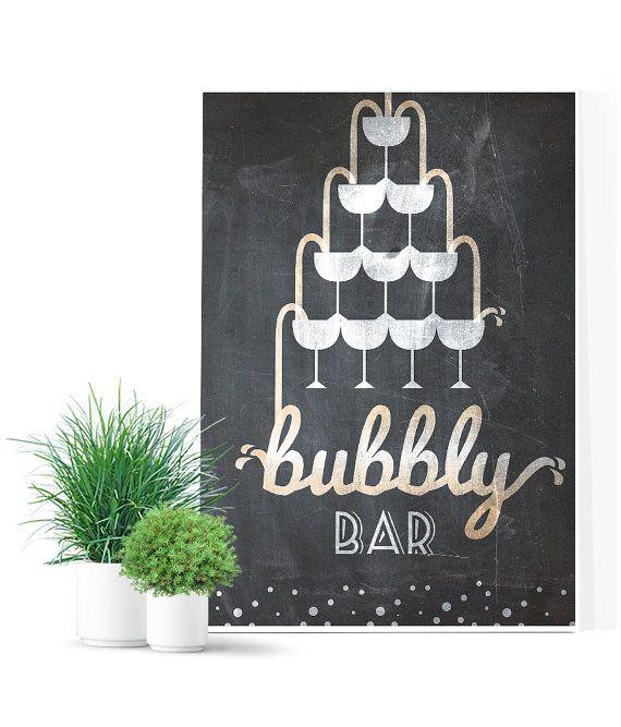 Bubbly Bar Wedding Sign Chalkboard wedding sign by MDBWeddings